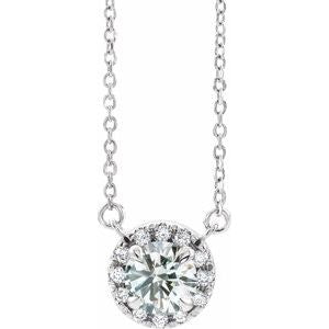 "14K White 1 CTW Lab-Grown Diamond French-Set 16-18"" Necklace"