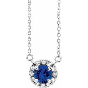 "Sterling Silver Blue Sapphire & 1/6 CTW Diamond 16"" Necklace"