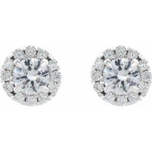 Load image into Gallery viewer, Platinum 1 1/4 CTW Diamond Halo-Style Earrings