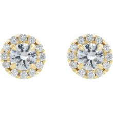Load image into Gallery viewer, 14K Yellow 2 CTW Diamond Halo-Style Earrings