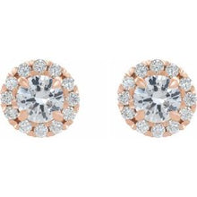 Load image into Gallery viewer, 14K Rose 2 CTW Diamond Halo-Style Earrings