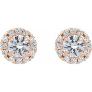14K Rose 2 CTW Diamond Halo-Style Earrings