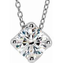 "Load image into Gallery viewer, 14K White 3/4 CT Diamond Solitaire 16-18"" Necklace"
