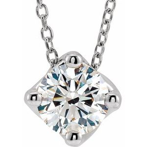 "14K White 3/4 CT Diamond Solitaire 16-18"" Necklace"