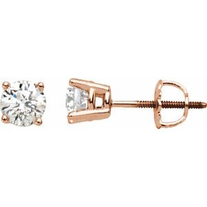 14K Rose 1 1/2 CTW Diamond Stud Earrings