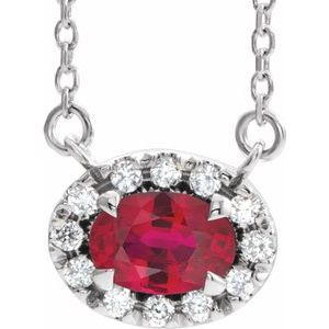 "Sterling Silver Ruby & 1/6 CTW Diamond 16"" Necklace"
