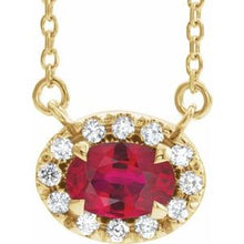 "Load image into Gallery viewer, 14K Yellow Ruby & 1/6 CTW Diamond 16"" Necklace"