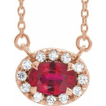 "Load image into Gallery viewer, 14K Rose Ruby & 1/6 CTW Diamond 16"" Necklace"