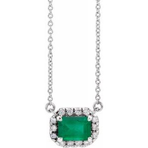 "Sterling Silver Emerald & 1/5 CTW Diamond 18""  Necklace"