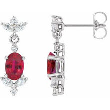 Load image into Gallery viewer, Platinum Ruby & 3/8 CTW Diamond Earrings