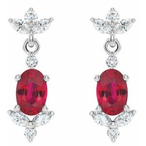Platinum Ruby & 3/8 CTW Diamond Earrings