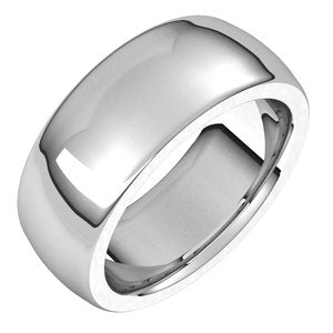 Platinum 8 mm Half Round Comfort Fit Heavy Band Size 5