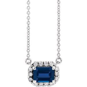 "Platinum Blue Sapphire & 1/5 CTW Diamond 16""  Necklace"