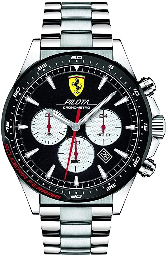 Scuderia Ferrari Mens Chronograph Quartz Watch with Stainless Steel Strap 0830599