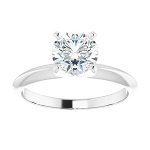 14K White 1 CT Lab-Grown Diamond Light Solitaire Engagement Ring