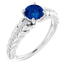 Load image into Gallery viewer, Platinum Blue Sapphire & 1/8 CTW Diamond Ring