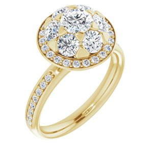 14K Yellow 1 1/2 CTW Diamond Engagement Ring