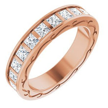 Load image into Gallery viewer, 14K Rose 2 1/6 CTW Diamond Square Eternity Band Size 5
