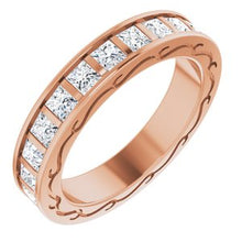 Load image into Gallery viewer, 14K Rose 2 1/4 CTW Diamond Square Eternity Band Size 6
