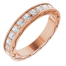 Load image into Gallery viewer, 14K Rose 1 7/8 CTW Diamond Square Eternity Band Size 7