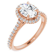 Load image into Gallery viewer, 14K Rose 8x6 mm Oval Forever One'Ñ¢ Moissanite & 1/3 CTW Diamond Engagement Ring