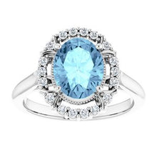 Load image into Gallery viewer, 14K White Aquamarine & 1/6 CTW Diamond Ring