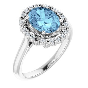 14K White Aquamarine & 1/6 CTW Diamond Ring