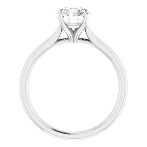 14K White 1 CT Lab-Grown Diamond Solitaire Engagement Ring