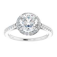 Load image into Gallery viewer, Charles & Colvard Moissanite® & Diamond Accented Halo-Style Engagement Ring