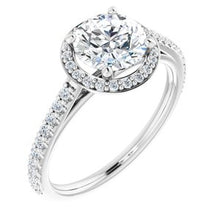 Load image into Gallery viewer, Platinum 7 mm Round Forever One'Ñ¢ Moissanite & 1/4 CTW Diamond Engagement Ring