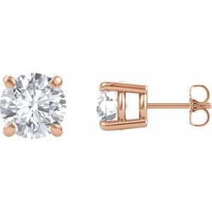 14K Rose 8 mm Round Forever One'Ñ¢ Moissanite Earrings