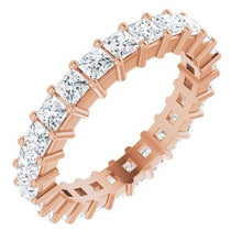 Load image into Gallery viewer, 14K Rose 2 1/3 CTW Diamond Square Eternity Band Size 7