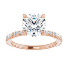 Load image into Gallery viewer, 14K Rose 8 mm Round Forever One'Ñ¢ Moissanite & 1/3 CTW Diamond Engagement Ring