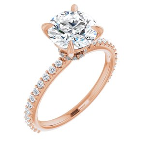 14K Rose 8 mm Round Forever One'Ñ¢ Moissanite & 1/3 CTW Diamond Engagement Ring