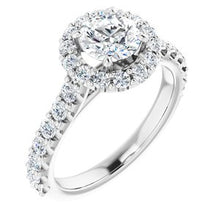 Load image into Gallery viewer, 14K White 6 mm Round Forever One'Ñ¢ Moissanite & 3/4 CTW Diamond Engagement Ring