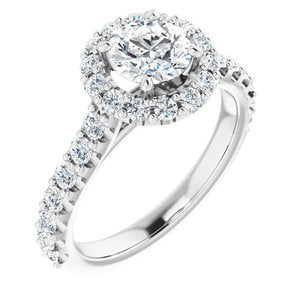14K White 6 mm Round Forever One'Ñ¢ Moissanite & 3/4 CTW Diamond Engagement Ring
