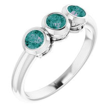Load image into Gallery viewer, Platinum Alexandrite Three-Stone Bezel-Set Ring