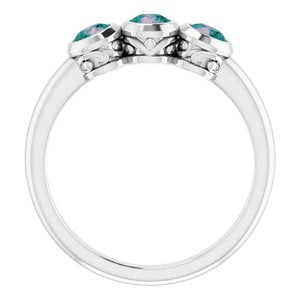 Platinum Alexandrite Three-Stone Bezel-Set Ring