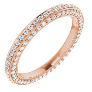 14K Rose 3/4 CTW Diamond Eternity Band Size 5