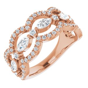14K Rose 1 1/3 CTW Diamond Anniversary Band