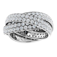 Load image into Gallery viewer, 3-Band Accented Rolling Eternity Band