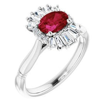 Load image into Gallery viewer, Platinum Ruby & 1/4 CTW Diamond Ring