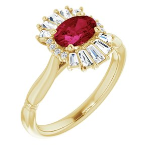 14K Yellow Ruby & 1/4 CTW Diamond Ring