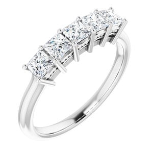 Platinum 3x3 mm Square 3/4 CTW Diamond Anniversary Band