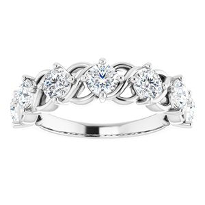 14K White 1 1/2 CTW Diamond Anniversary Band