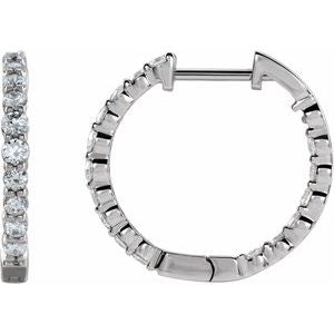 14K White 2 CTW Lab-Grown Diamond Inside-Outside Hinged 20 mm Hoop Earrings