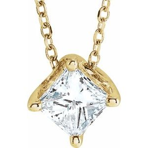 "14K Yellow 3/4 CT Diamond Solitaire 16-18"" Necklace"