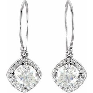 14K White 2 1/5 CTW Diamond Earrings