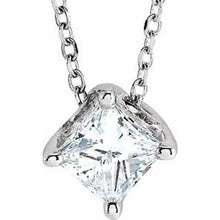 "Load image into Gallery viewer, Sterling Silver 3/4 CT Diamond Solitaire 16-18"" Necklace"