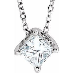 "Sterling Silver 3/4 CT Diamond Solitaire 16-18"" Necklace"